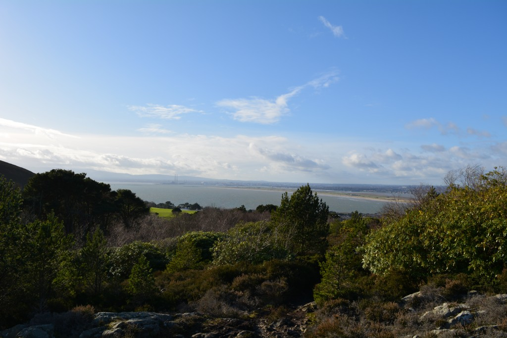 Howth, stone plateau on the mountain overlooking ocean and dublin city