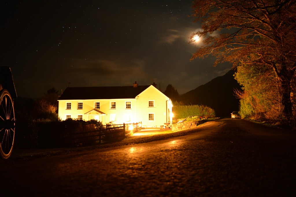 Black Valley Hostel at night