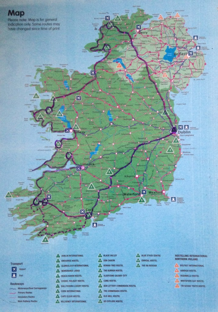 map showing the route along the wild atlantic way from dublin